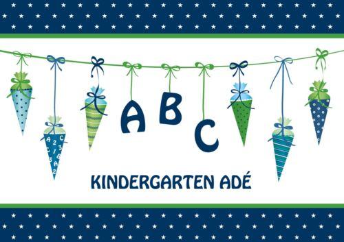 Einladungskarten Einschulung A6 Grün Jungen Blau Einladung Schulanfang