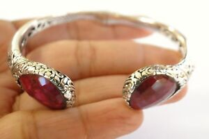 Red-Ruby-Ornate-Balinese-925-Sterling-Silver-Cuff-Bangle-Bracelet
