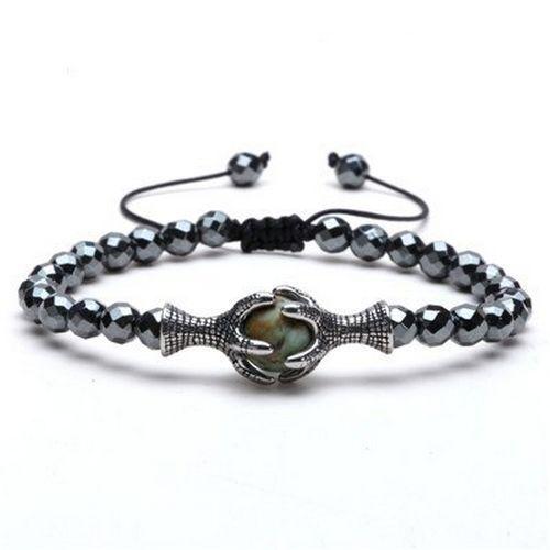 Eagle Tressé Corde Bracelet 6 mm hématite perles pierre naturelle réglable bracelets