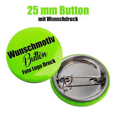 100x Button 25mm Mit Wunschmotiv - Buttons Drucken - Logo - Foto - Text