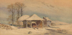 Early-20th-Century-Watercolour-Winter-Landscape