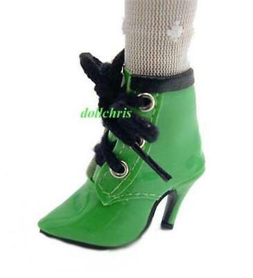 """Shoes Ankle Boots for 16/"""" Ellowyne Wilde Cami Doll Laced Green Patent Black Trim"""