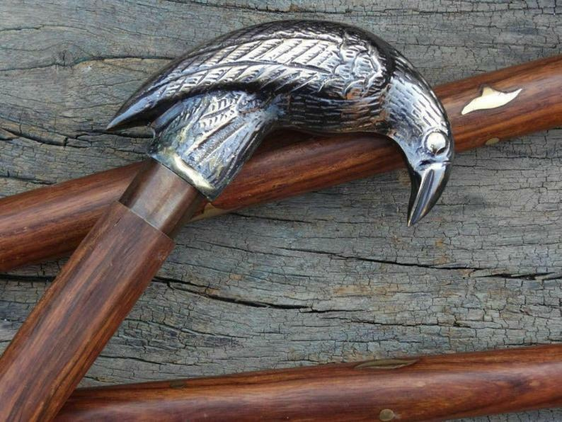 Antique Brass Crow Head Handle Vintage Wooden Walking Stick Cane Father's Gift