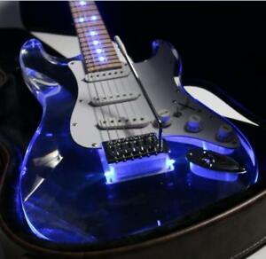 Strat-LED-Light-Electric-Guitar-Frets-Light-Guitar-Acrylic-Body-Crystal-Guitar