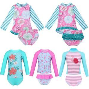 Kids-Girls-Printed-Tankini-Beachwear-Bathing-Suit-Rash-Guard-Swimsuit-Swimwear