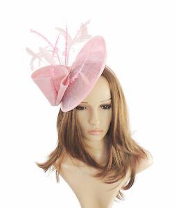 Orange//Fuchsia Pink Fascinator  Hat for Weddings Ascot Proms V4