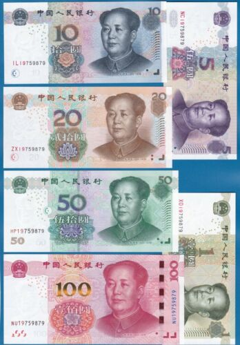 China SET 6 Notes matching serial number 1,5,10,20,50,100 UNC 906 909 See Inside