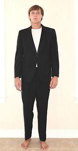 Vintage-60-039-s-Men-039-s-Black-Shawl-Collar-Tuxedo-Suit-Jacket-Pants-Size-40-R-34-034-x30-034