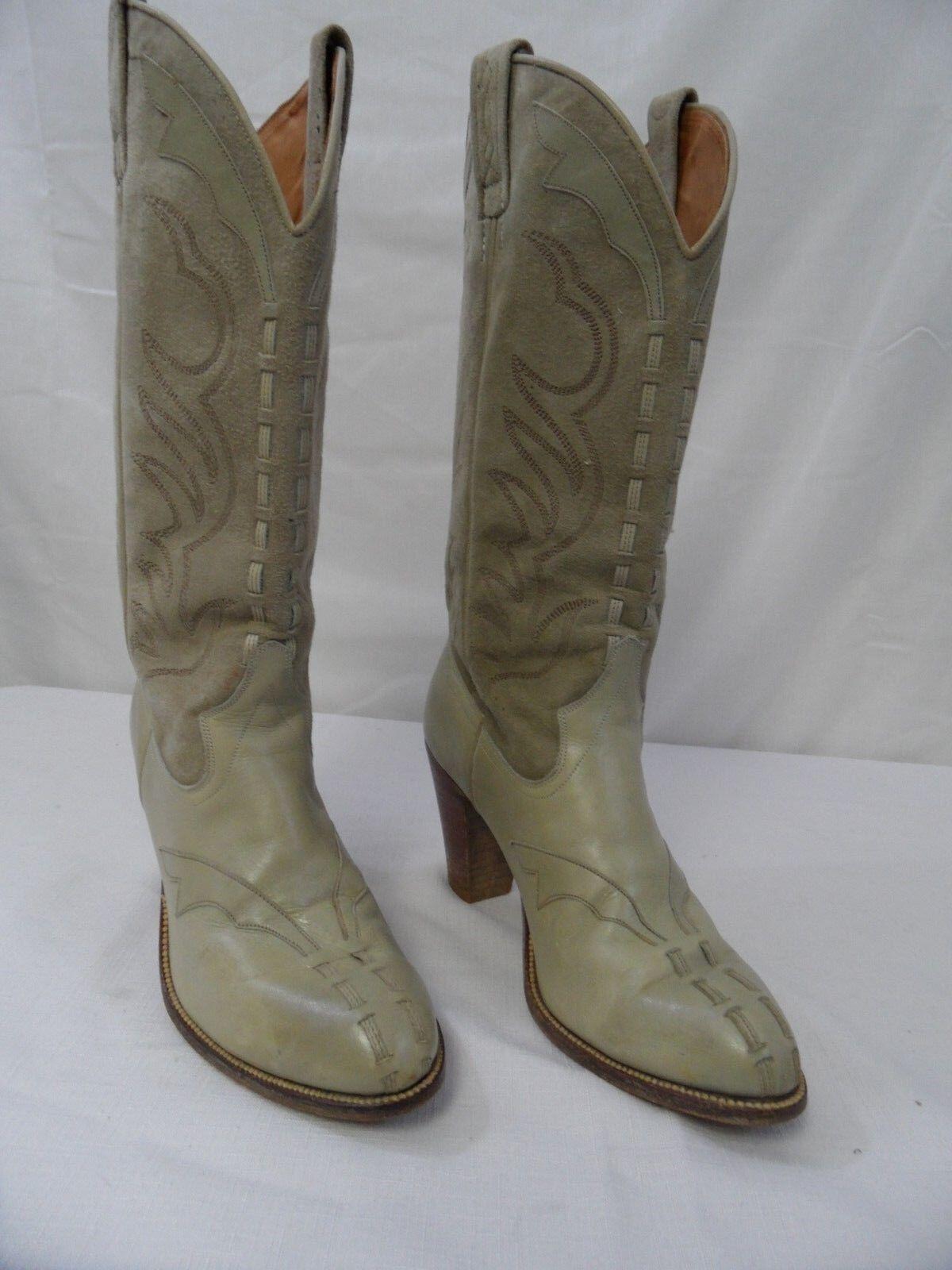 Vintage High Heel 5.5N Dan Post Cowboy Cowgirl Boots Off-White Tan Cream  Spain