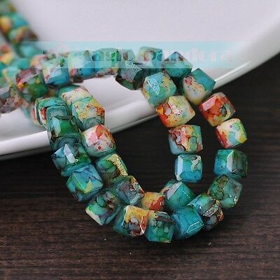 DIY New 8mm Glass Czech Square Cube Faceted Loose Spacer Beads Jewelry Findings