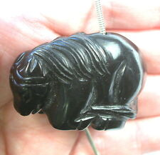 DVH Russian Jet Carved Horse Focal Bead Mourning Jewelry 28x45x18 (8554)