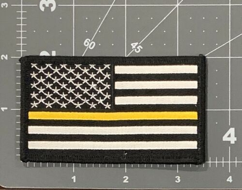 US FLAG YELLOW LINE TOW TRUCK SECURITY POLICE FIRE DISPATCH USA JL194
