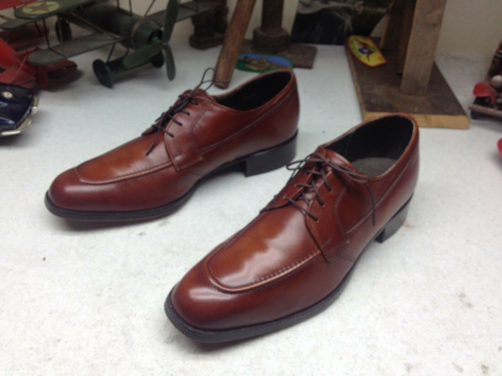 MADE IN  A COGNAC BROWN JARMAN LACE UP SQUARE TOE B INESS POWER OXFORDS 9.5 C