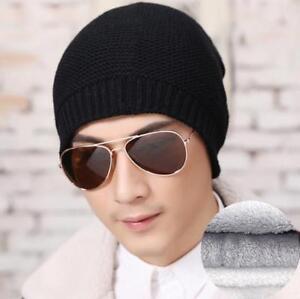 Men s Winter Thick Wool Knit Beanie Cap Warm Fleece Lined Cuff Skull ... 54efb7380f3