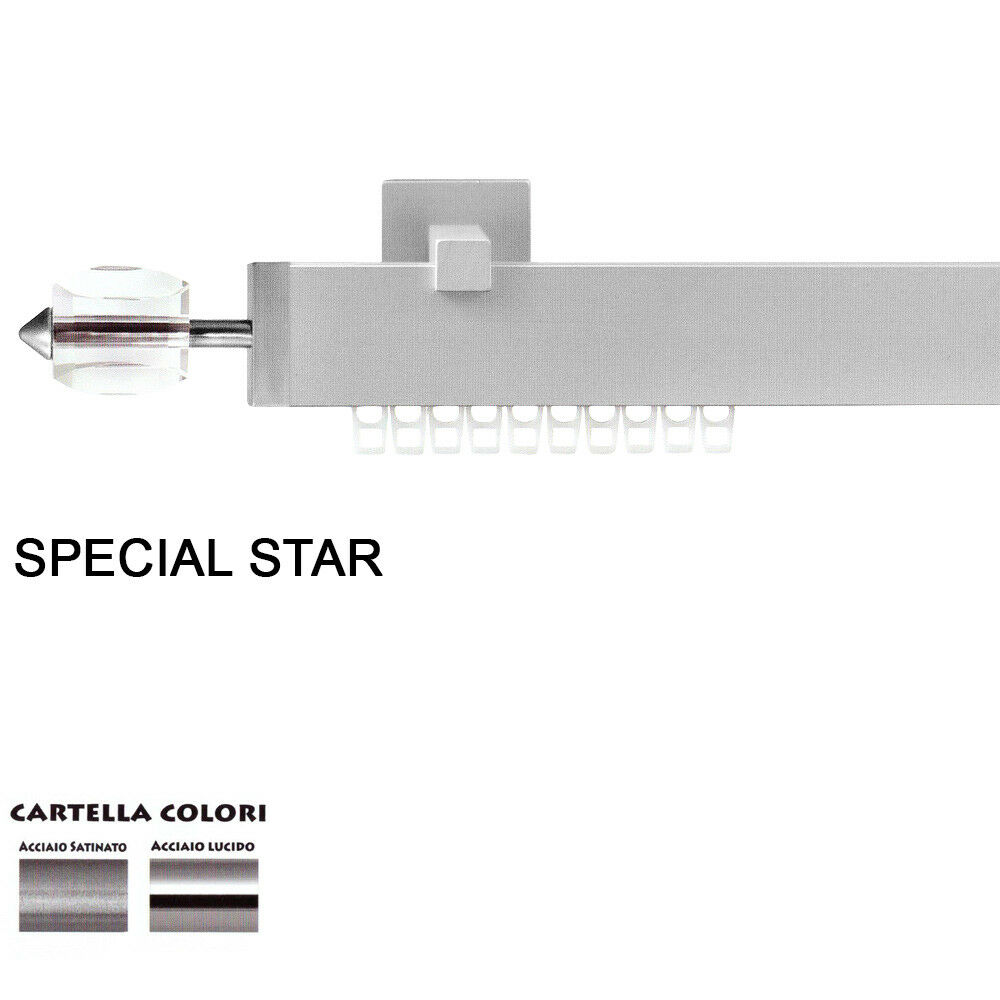 Scorritenda Corda Strappo Bastone Tenda Piatto AlluminioTerminale Special Star