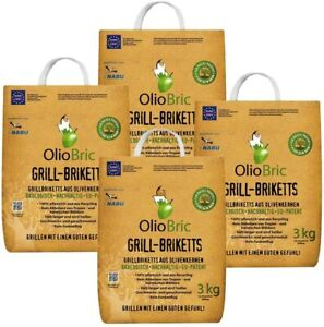 OlioBric 12kg (4x3kg) Oliventrester Grillbriketts geschmacksneutral, nachhaltig