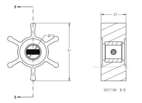Water Pump Impeller Jabsco 653-0001 Johnson 09-810B Sierra 23-3307 YANMAR128990