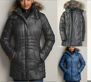 NWT Eddie Bauer Womens 2014 High Pass Down parka Coat Fur Hood 650 ...