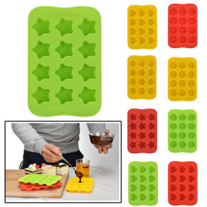 Silicone-Ice-Cube-Tray-Cookies-Baking-Mold-Chocolate-Heart-Round-Star-Shape-US
