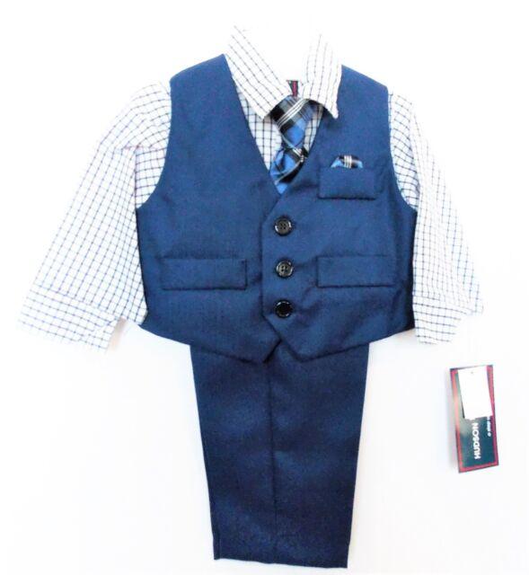 Hudson Ferrell 4 Pc Vest Set Infant Boys Sz 12 Month Special Occasion  Blue/White for sale online
