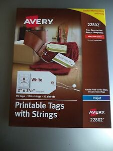 image regarding Printable Tags With Strings named Data with regards to Avery 22802 Printable Tags with Strings Inkjet Printers 2 x 3.5 inches 96 tags