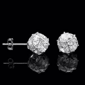 9f7a9d7659dc7 Details about 2.5CT Cluster Ball Created Diamond Earrings 14K Solid White  Gold Studs Round Cut