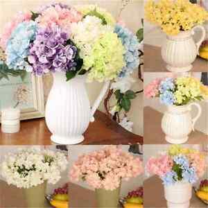 Silk-Flowers-Artificial-Hydrangea-Bouquet-Leaf-Wedding-Bridal-Party-Home-Decor