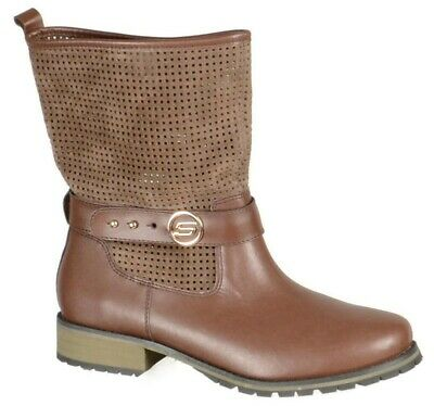 skechers motorcycle boots 9m slouch preforated shaft ons pull brown womens