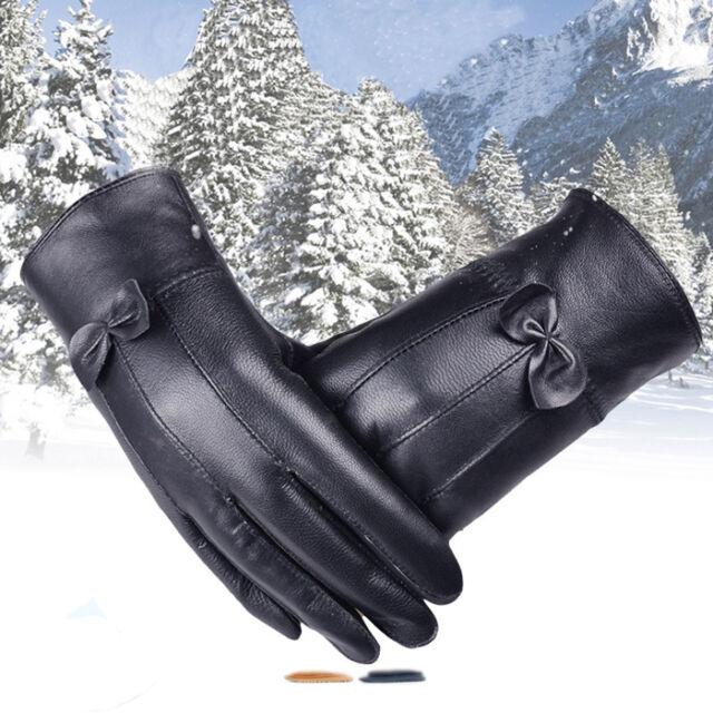 Women Black Leather Gloves Winter Super Warm Gloves Cashmere Bow Hottest