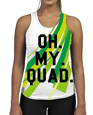 Oh My Quad Womens Gym Tank Top Vest Fitness Workout Gym Gymwear Slogan Funny
