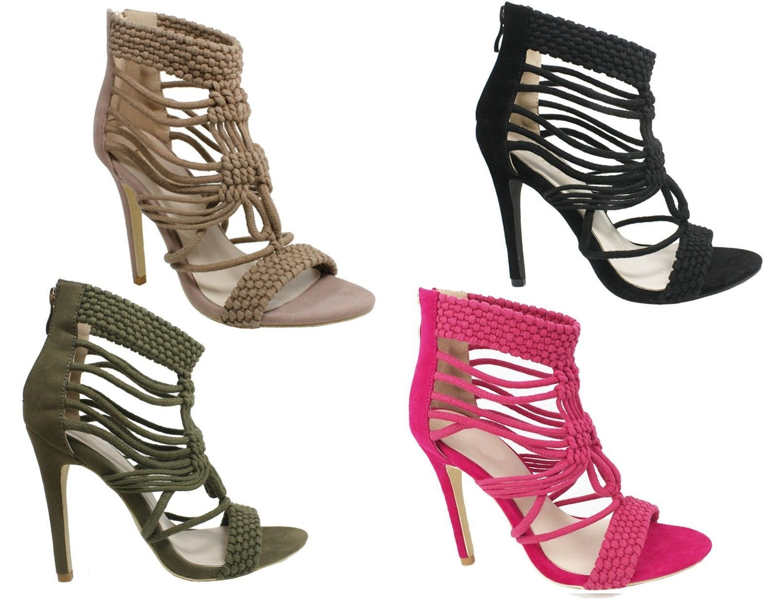 S318 Ladies Caged Woven Strappy Ankle Heeled Sandal shoes