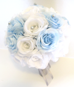 17 piece Wedding Flowers Bridal silk Bouquet LIGHT BLUE WHITE ...
