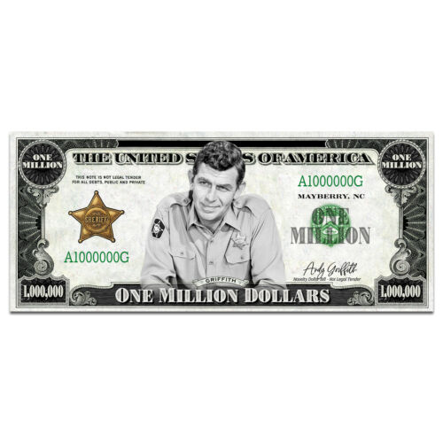 Andy Griffith Million Dollar Bill Old Time Retro TV Collectible with Case