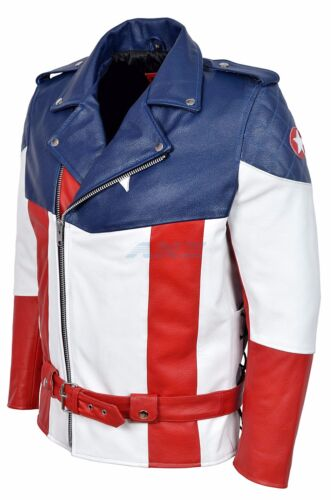 America vera calda The Captain versione di vacchetta pelle First Avenger in Giacca 7dAdx48q