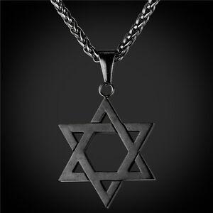 Star-of-David-Pendant-Necklace-Chain-christian-Israel-Jewish-Black-Gun-Pow