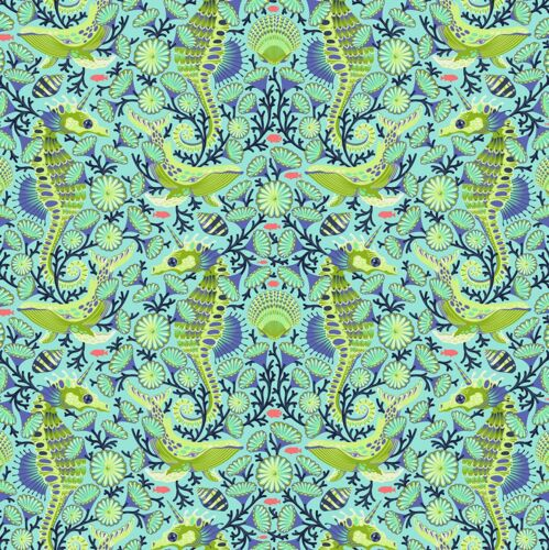 By 1//2 Yard ~ Tula Pink ZUMA ~ Sea Stallion in Aquamarine ~ Free Spirit Fabric