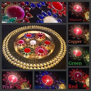 Details about Mehndi Plate Tea Light Candle Holder Set Mehndi Puja Gold  Thaal Table Decoration