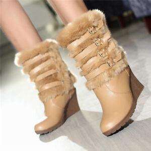0fdfd814b637 Das Bild wird geladen Elegant-Party-Damen-Stiefel-Schuhe-Faux-Fell- Stiefeletten-