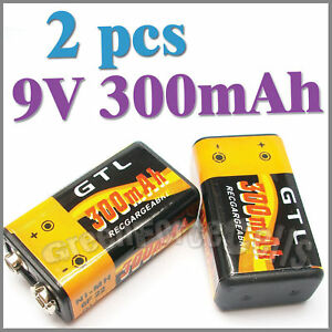 2-x-9V-6F22-300mAh-Ni-MH-Rechargeable-battery-Black-1