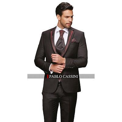 PABLO CASSINI Designer Herren Anzug Schwarz Bordeaux / Grau Hochzeitsanzug PC_17
