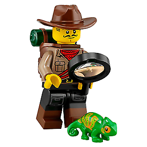 Genuine Minifigures Series 19 Jungle Explorer Minifigure with Chameleon 71025