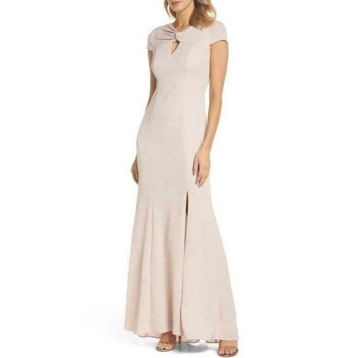 ADRIANNA PAPELL 14 Blush Cross Front Keyhole Textured Gown or Dress NWT