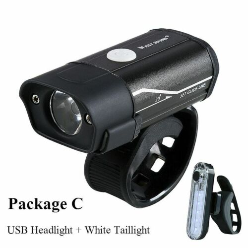 Bicycle LED Lights Headlight Taillight Kit USB Rechargeable Cycling Bike Light