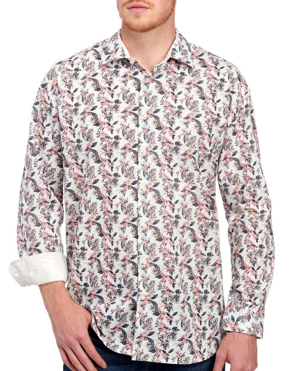 Tallia Mens Big & Tall Floral Button-Front Cotton Dress Shirt NWT  Size 2XLT