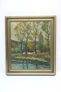 Landscape-with-Church-Oil-Painting-Willi-Foerster-Rothenburg