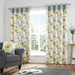 Details About Adrianna Ochre Grey Eyelet Curtains Lined Living Room Free P
