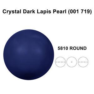 CRYSTAL-DARK-LAPIS-PEARL-001-719-Genuine-Swarovski-5810-Round-All-Sizes