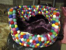 MULTI COLOURFUL FELT BALL PET DOG BASKET BED 40CM x 25CM 100% WOOL & HANDMADE