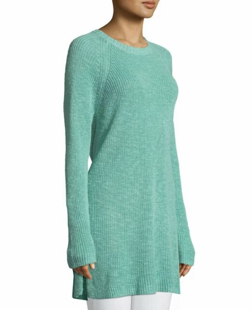 EILEEN FISHER Slub Tunic Sweater Size Medium Organic Linen Cotton Green NWT $188
