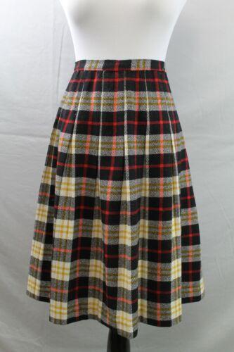 """Vintage 1950s 60s Pleated Skirt Wool Plaid W 26"""" H"""